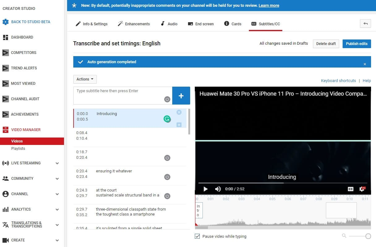 YouTube Automatic Subtitles Generator
