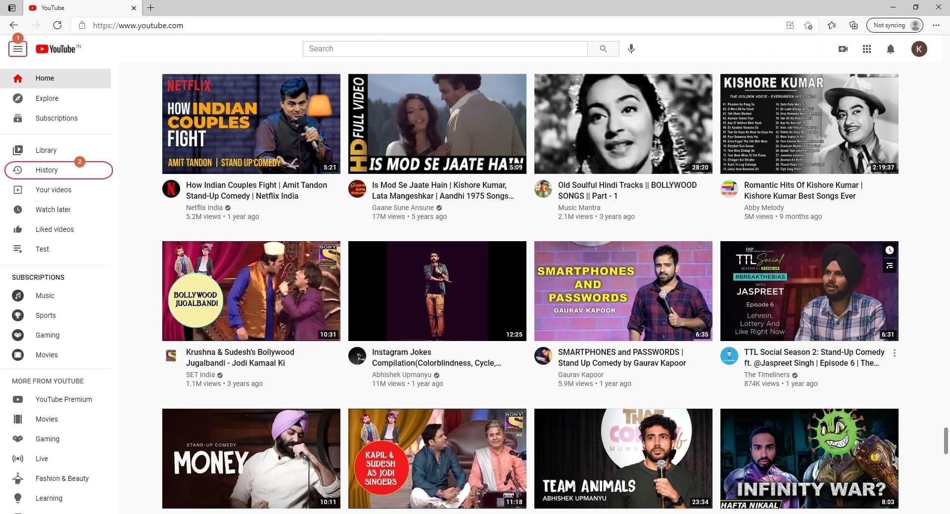 YouTube History Menu