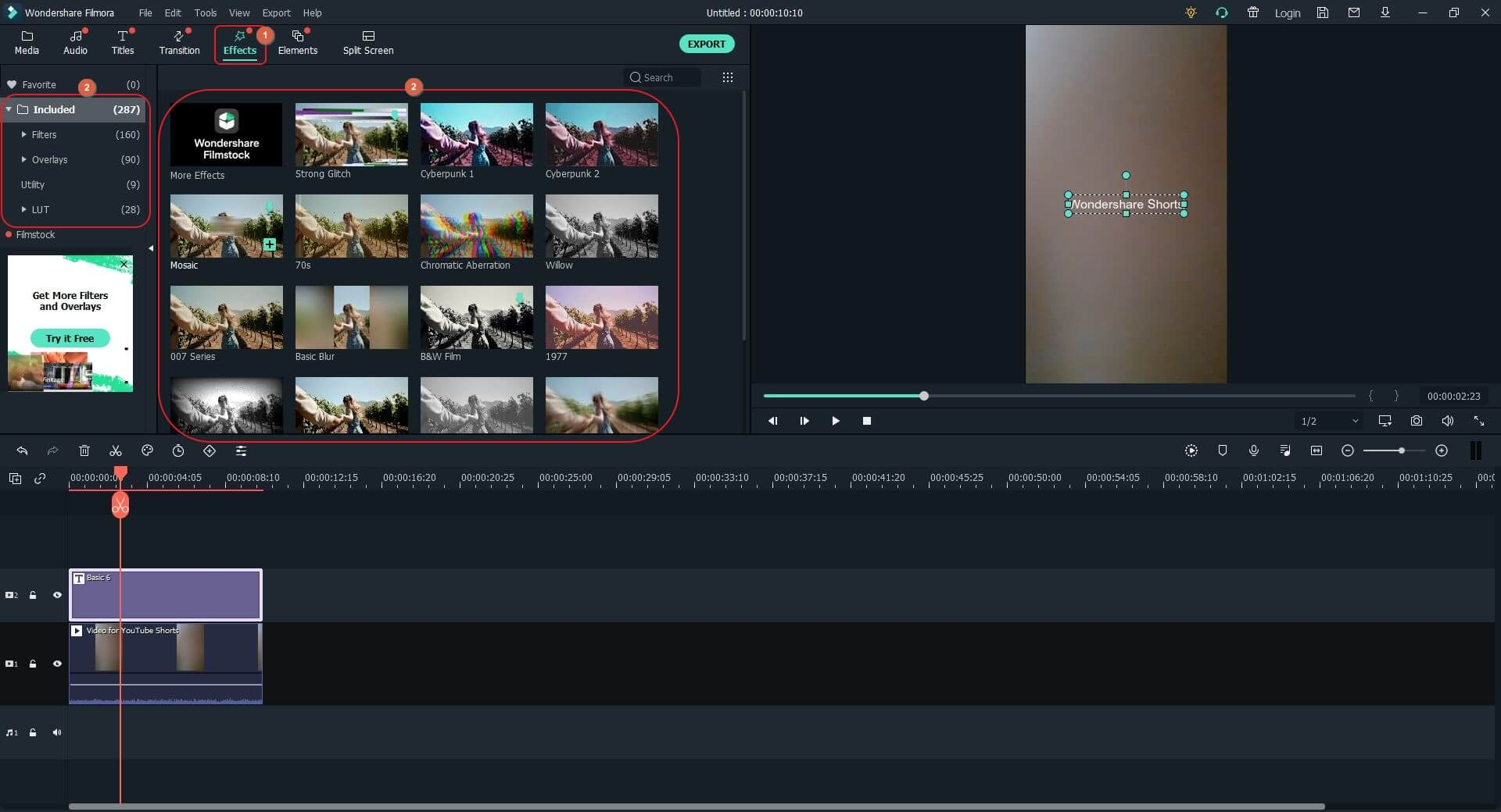 Add effects to YouTube Shorts video with Filmora