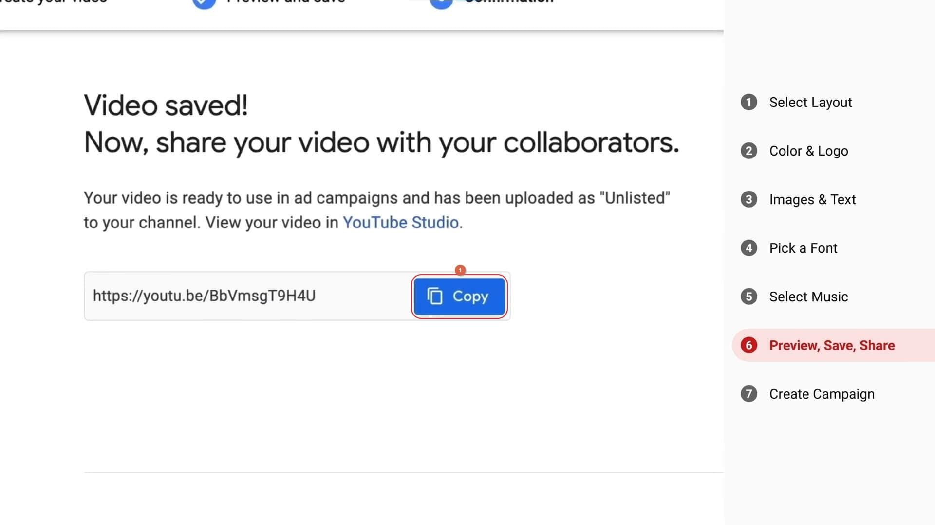 YouTube Video Builder Video Copy Link