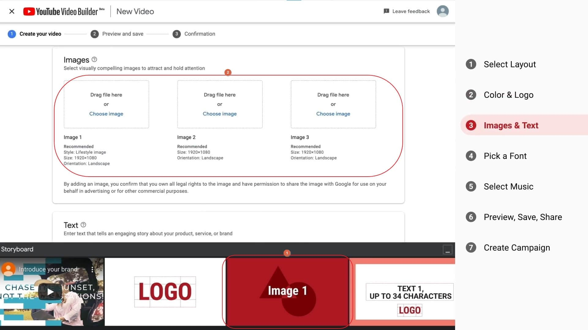 Create video with YouTube Video Builder