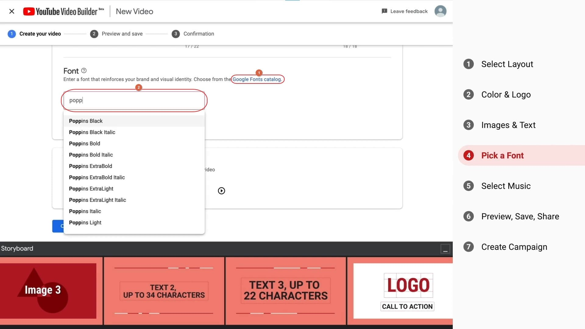 Create video with YouTube Video Builder - change font