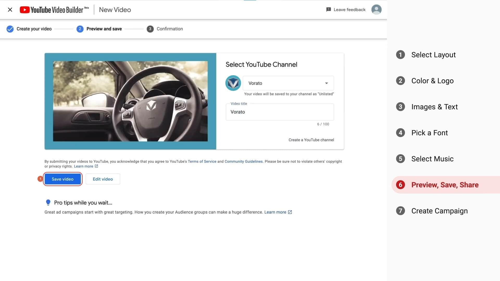 YouTube Video Builder Video Preview and Save