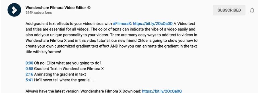 youtube timestamp description