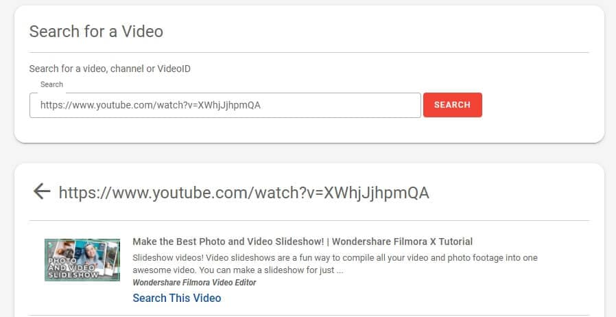 YTComment Finder interface