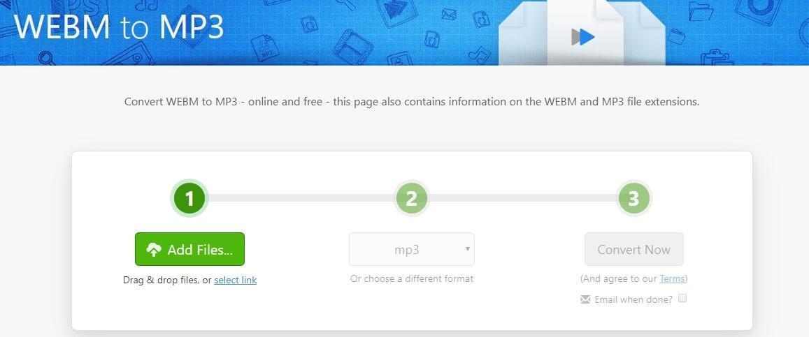 Convert WebM video to MP3 with Zamzar