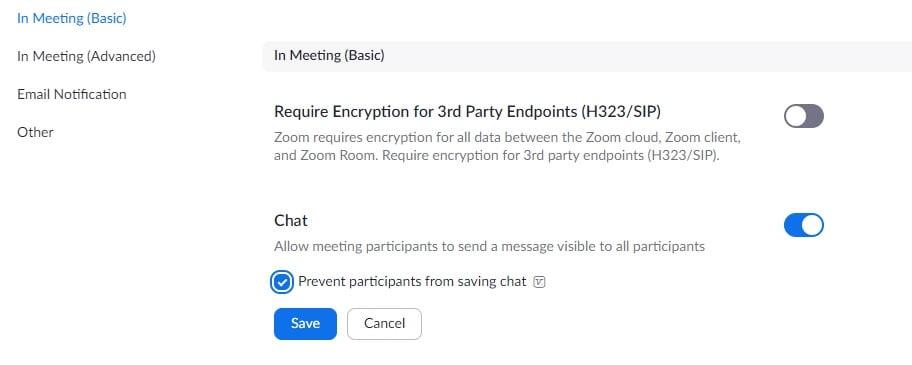 Zoom Meeting Chat  Saving Settings