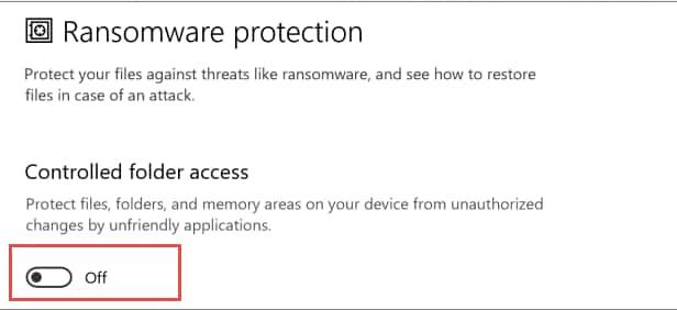 désactiver les ransomwares