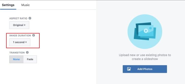cambiar la duración del pase de diapositivas de Facebook