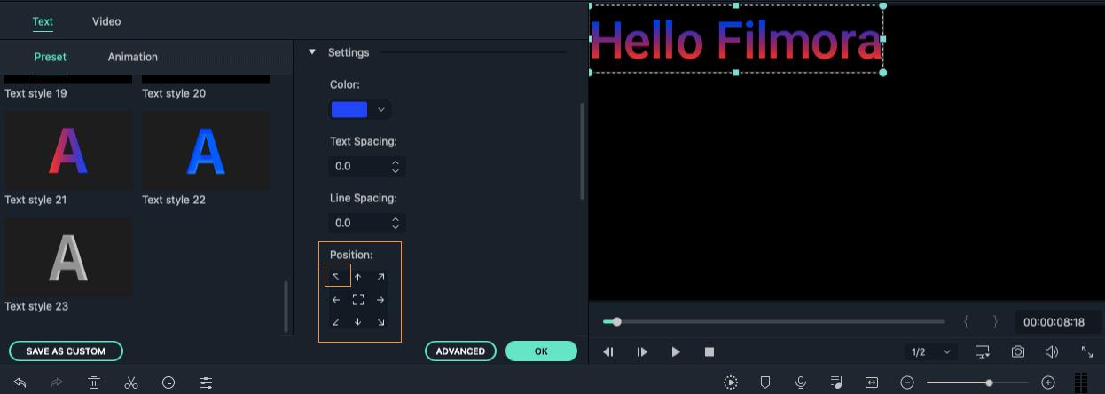 Filmora 9 for Mac add title effects