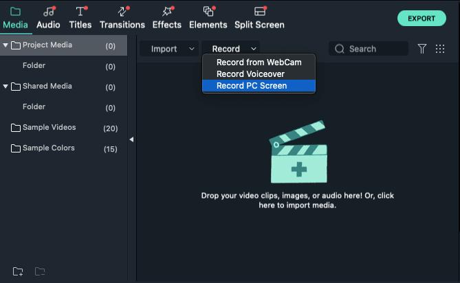 record screen in filmora version