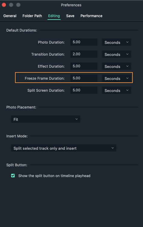 Filmora x for Mac create freeze frame