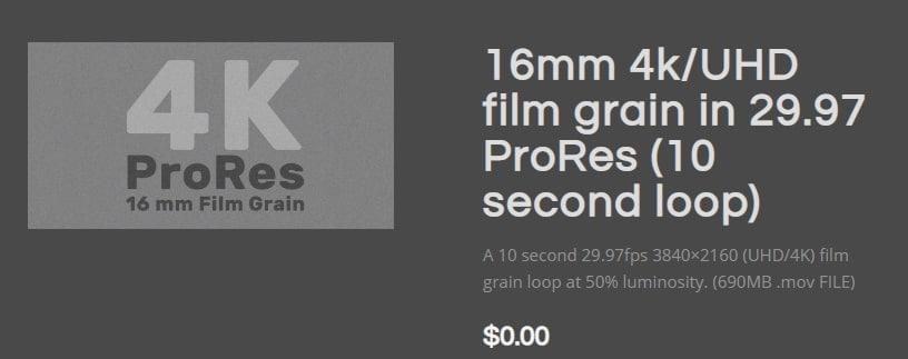 16mm 4k/UHD film grain