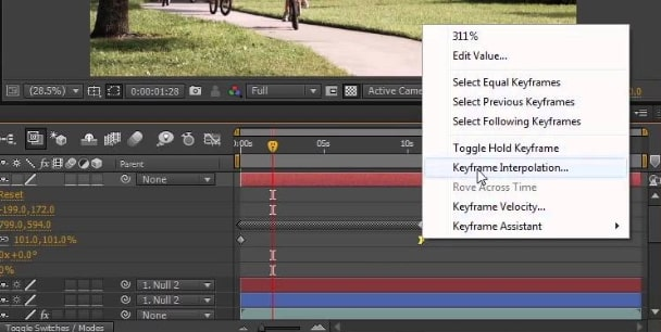 Interpolation Keyframes after effects