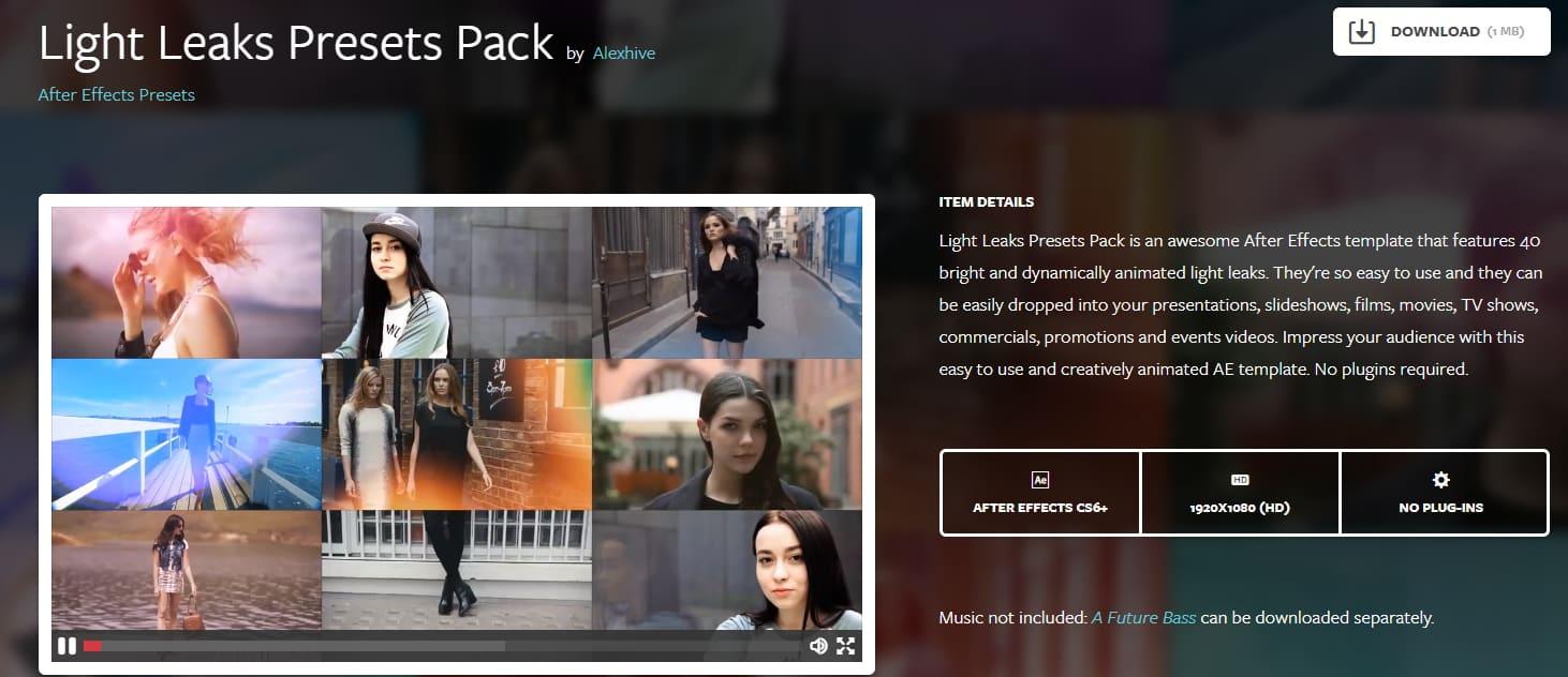 Light Leaks Presets Pack