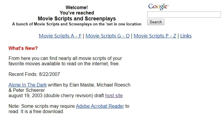 Movie Scripts and Screenplays