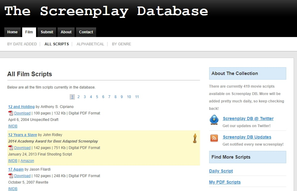 Screenplay Database