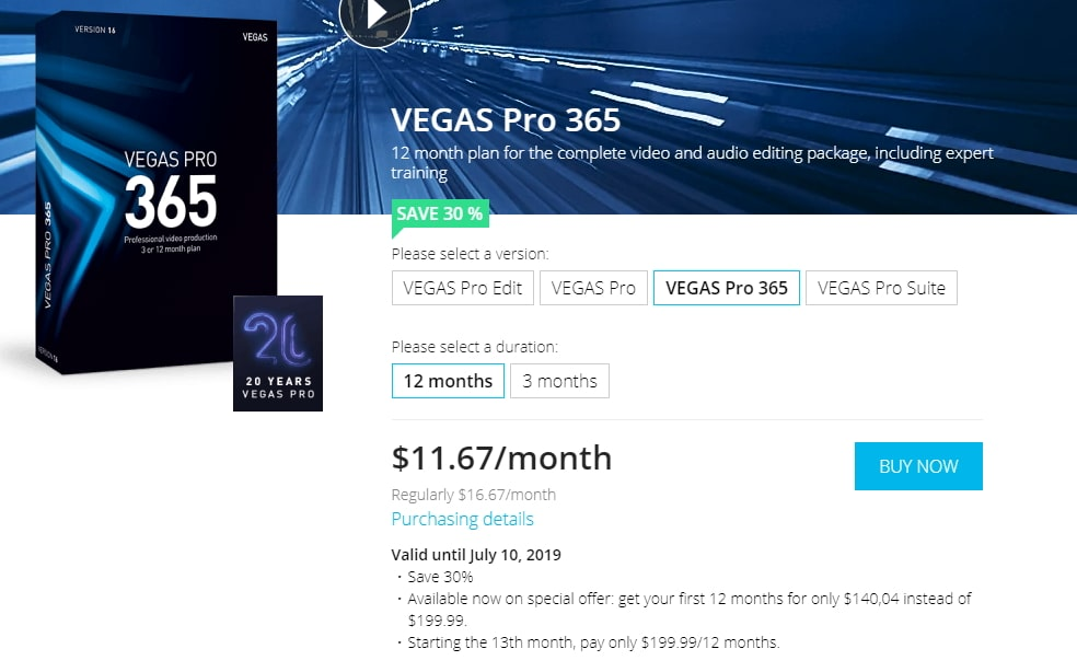 Vegas Pro 365 price