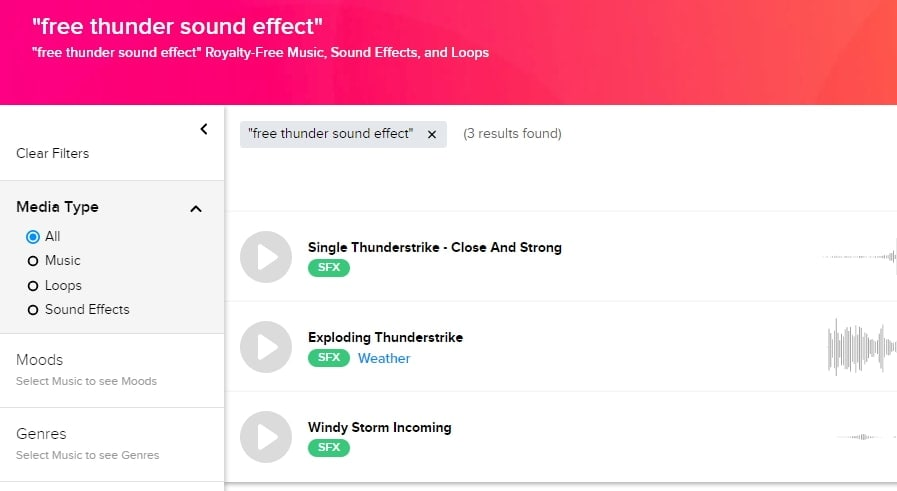 Audio Blocks thunderstorm sound effects