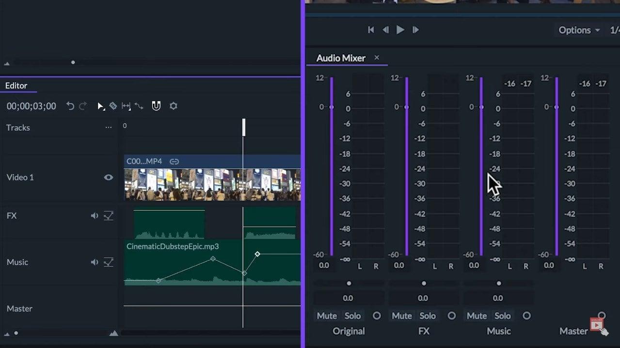 Panneau de Mixage Audio