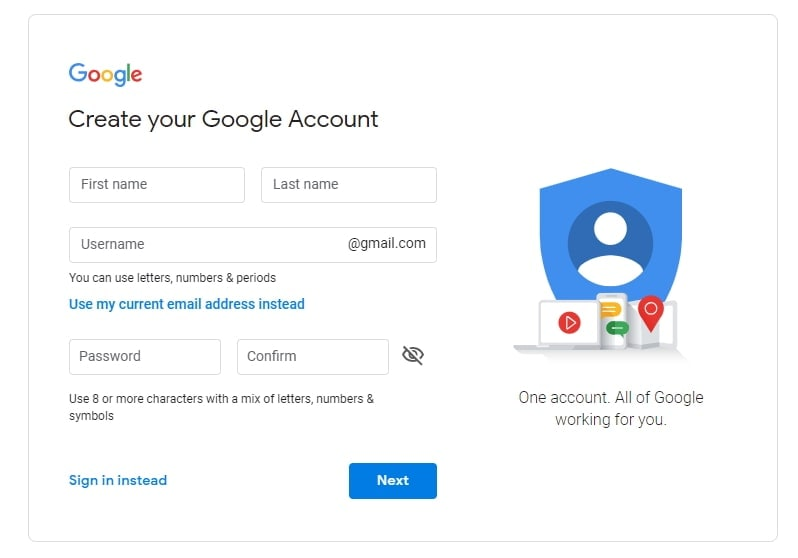 make google account