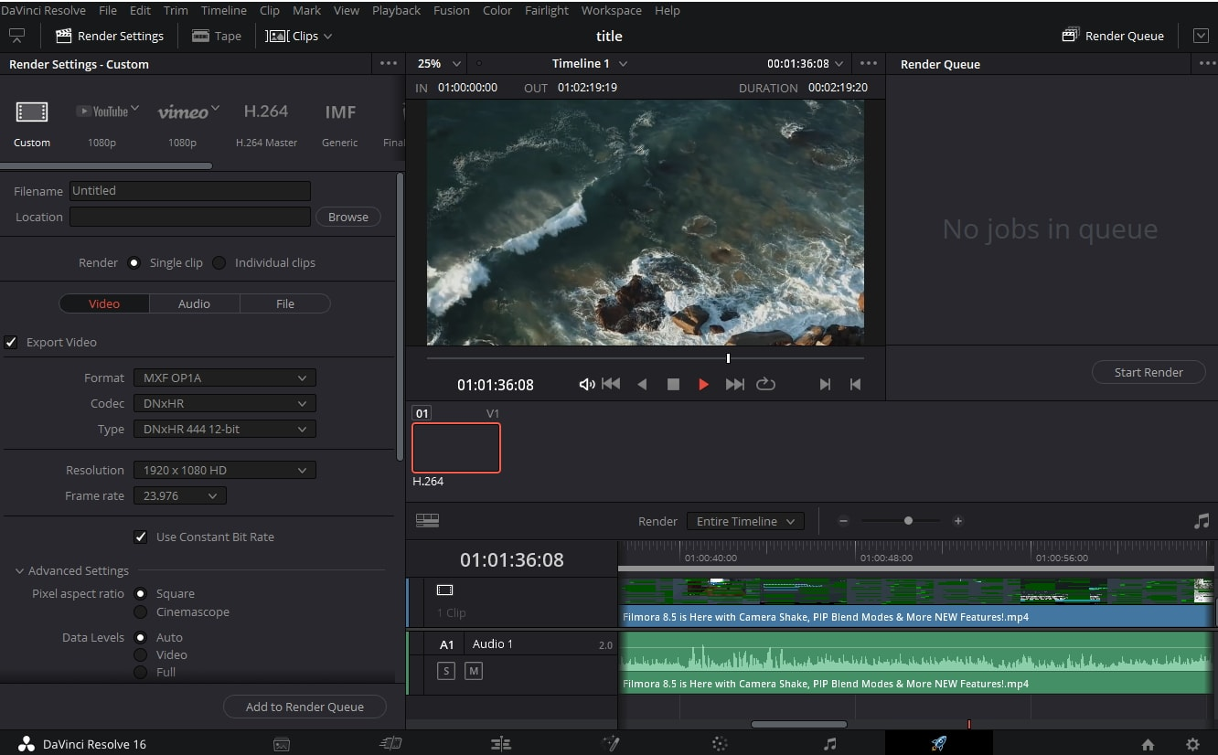 DaVinci Resolve interface with features