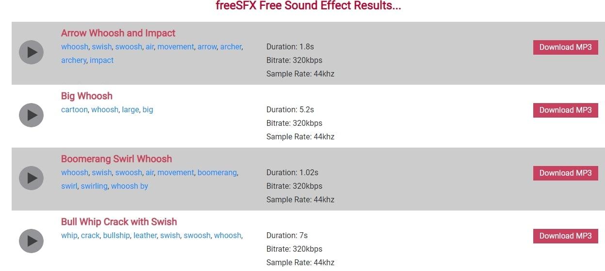 Free SFX Whoosh effect
