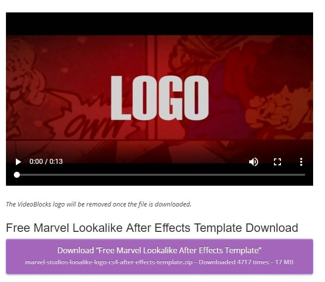 marvel free after effects templates