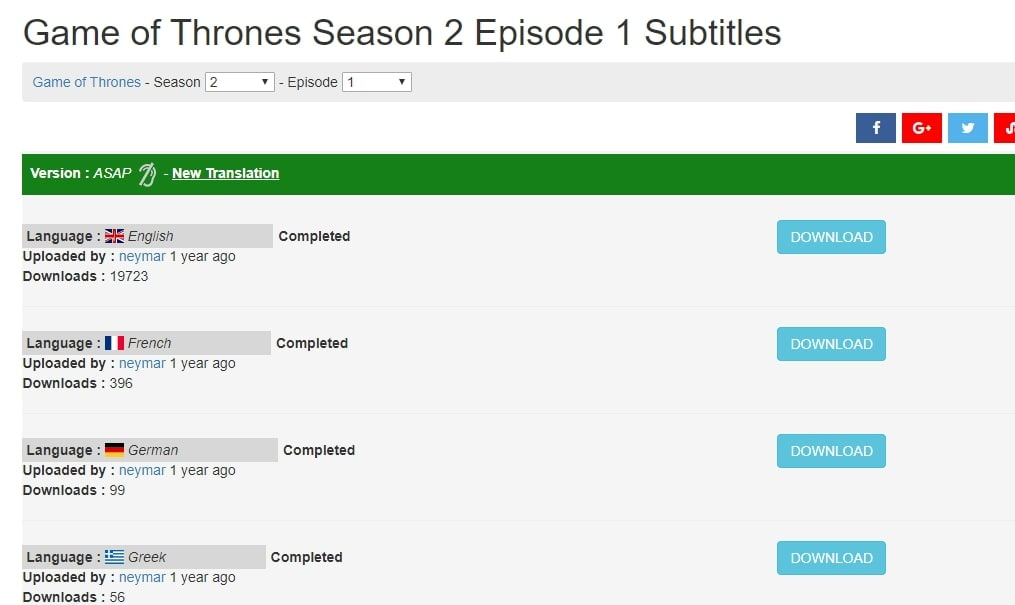My subs download Game of Thrones season 2 subtitles