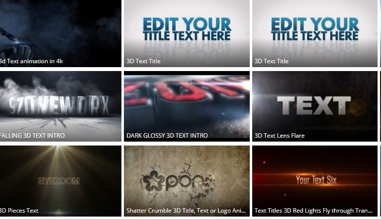 3d text after effects Pond5