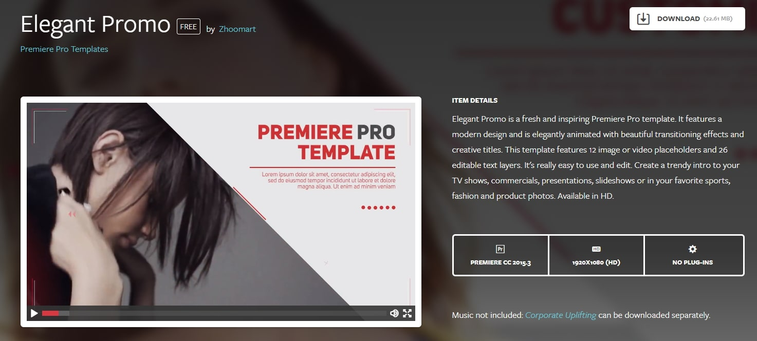 premiere pro intro template free download Elegant Promo