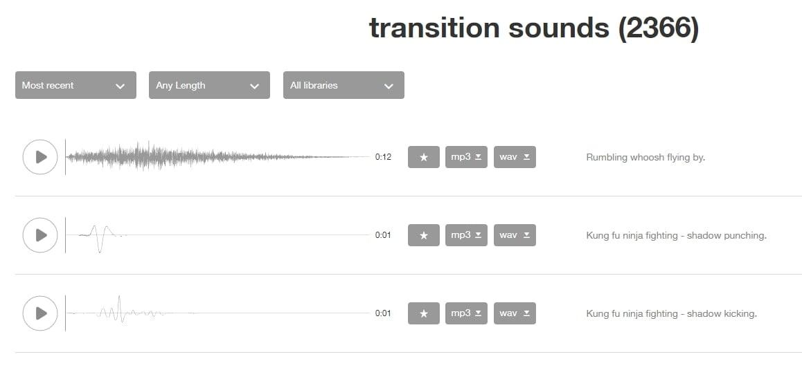 Sound snap Transition Sounds
