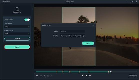 exportar vídeo reenquadrado