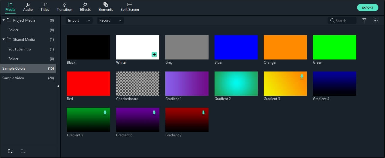 accéder aux exemples de couleurs de Filmora 9