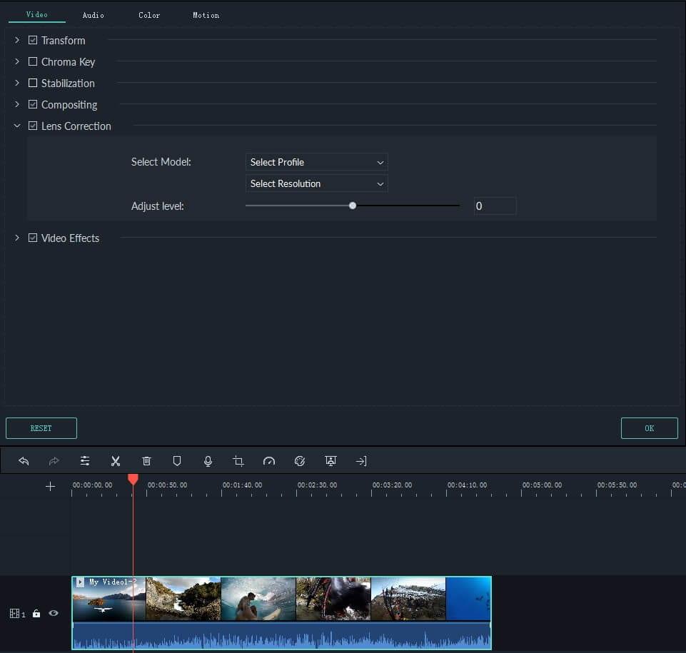 correction de l'objectif de la caméra d'action dans Filmora 9