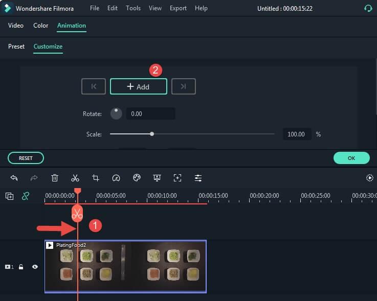 añadir fotograma clave de animación
