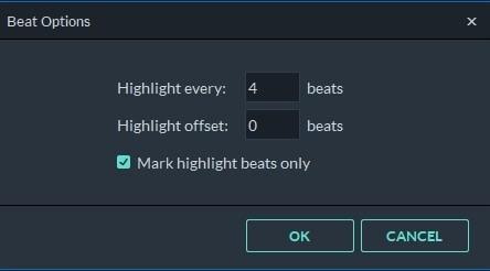 adjust beat highlight marker   in Filmora 9