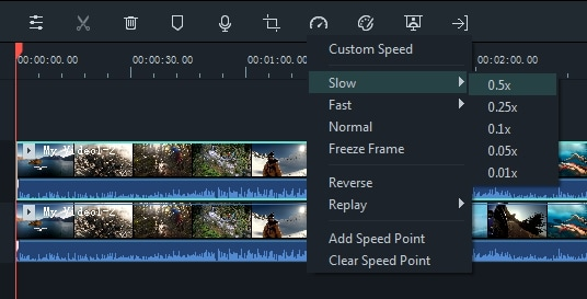 video speed changing  in Filmora 9