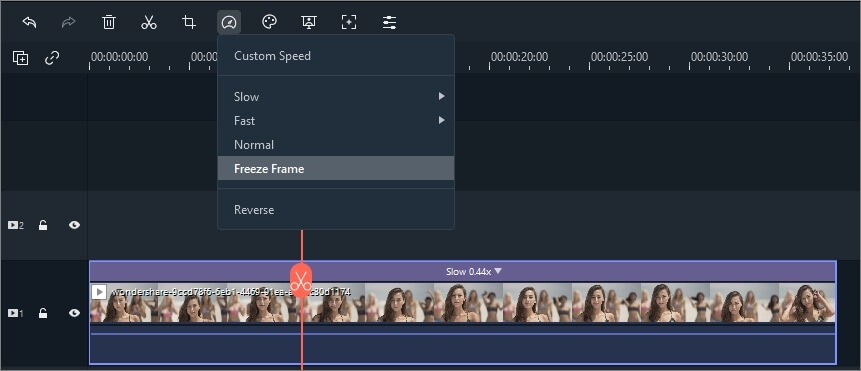 create freeze frame  in Filmora 9
