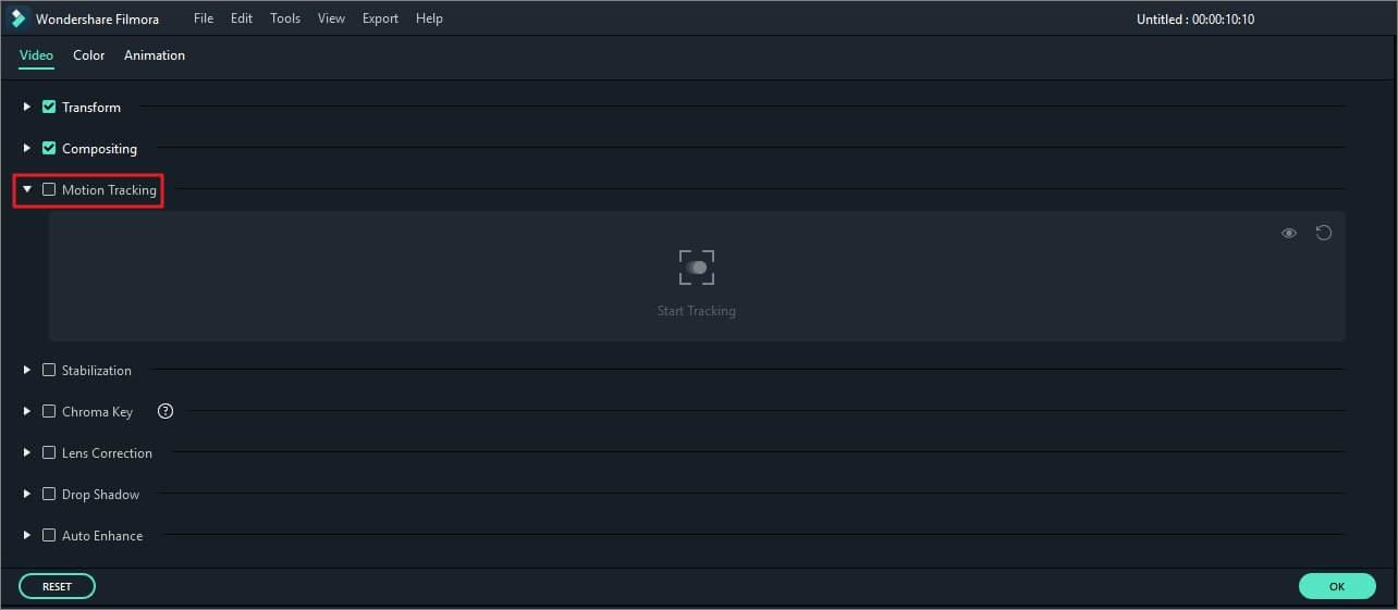Enable Motion Tracking in Filmora Windows