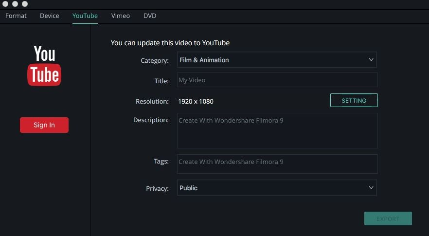 share on youtube vimeo filmora version 9