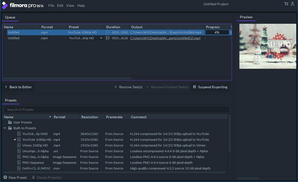export video on filmora pro setting