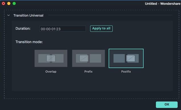 Filmora for Mac transition editing