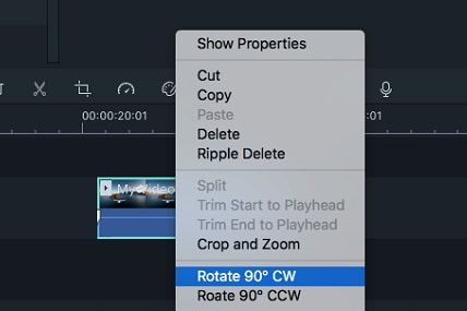Filmora for Mac rotate videos