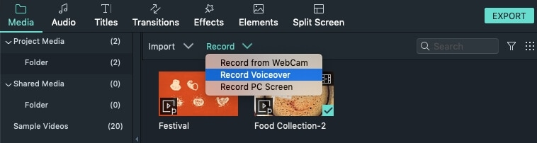 Filmora 9 for Mac record voiceover