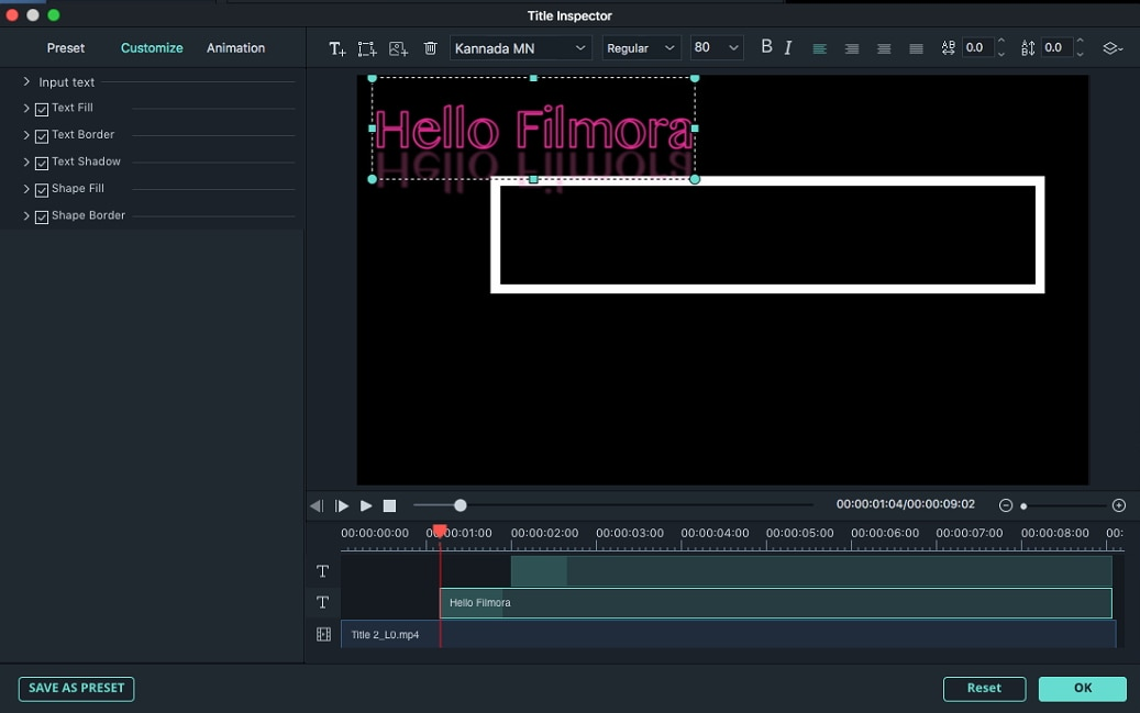 Filmora 9 for Mac title editing