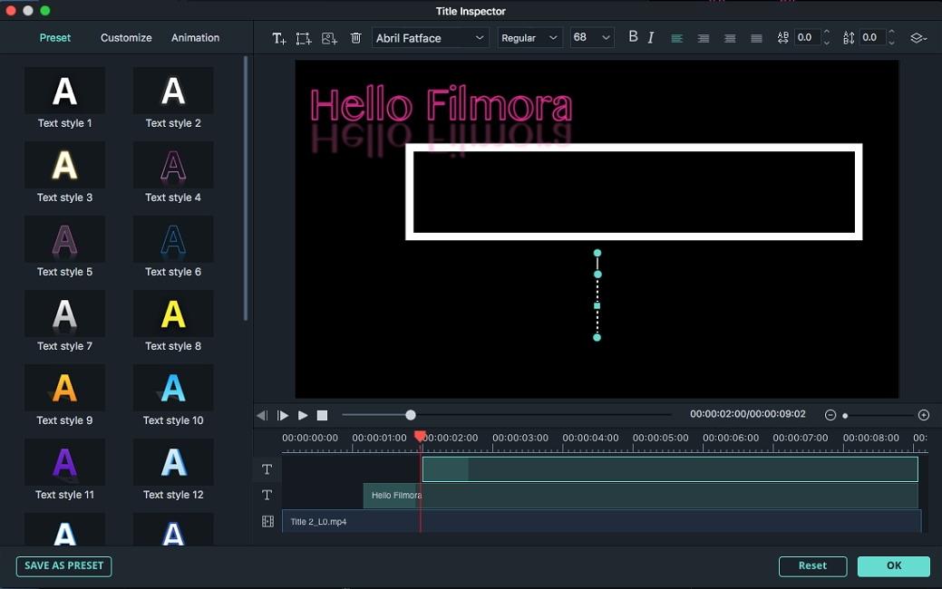 Inspecteur de titre de Filmora 9 pour Mac