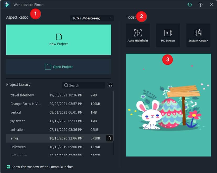 Filmora X Startup Screen Interface