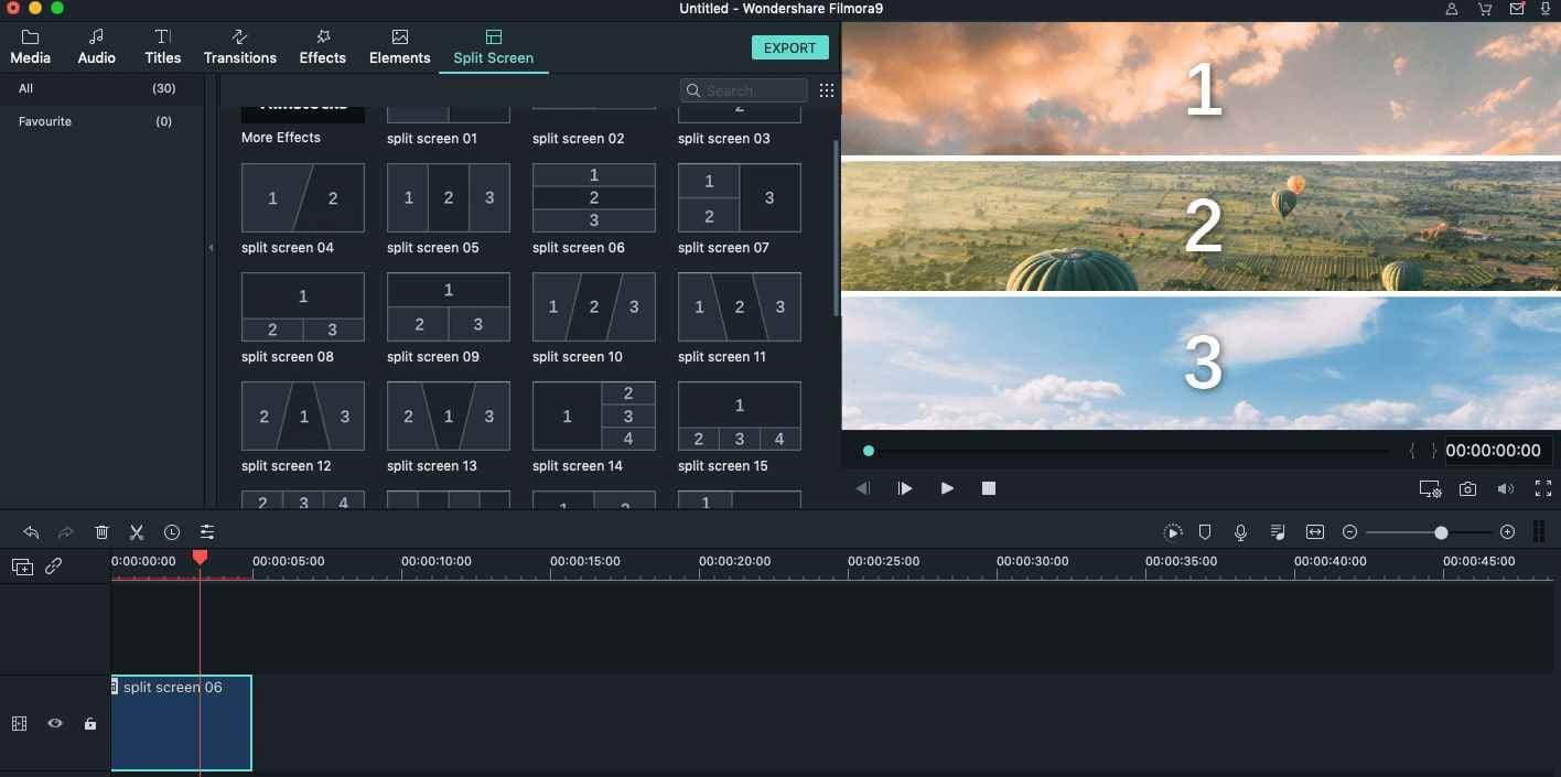 Appliquer un effet écran partagé dans Filmora9 pour Mac