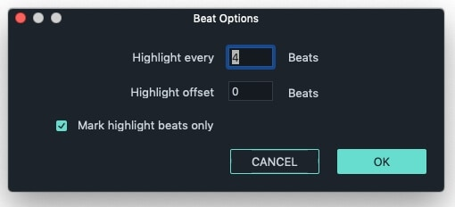 Filmora 9  Beat Detection Options